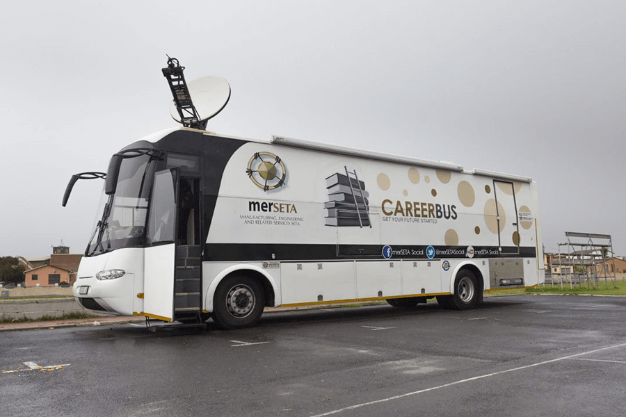 Merseta mobile parked outside school
